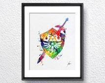 Legend of Zelda, Master Sword, Hylian Shield, Watercolor illustration, Art Print Wall, Art Poster, Wall Decor,  Home Decor, Item 036