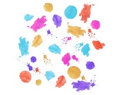 55 Paint splatter set | Watercolor splashes | Hand drawn | Digital clipart Set Digital download - Bright colors Party theme 300 dpi