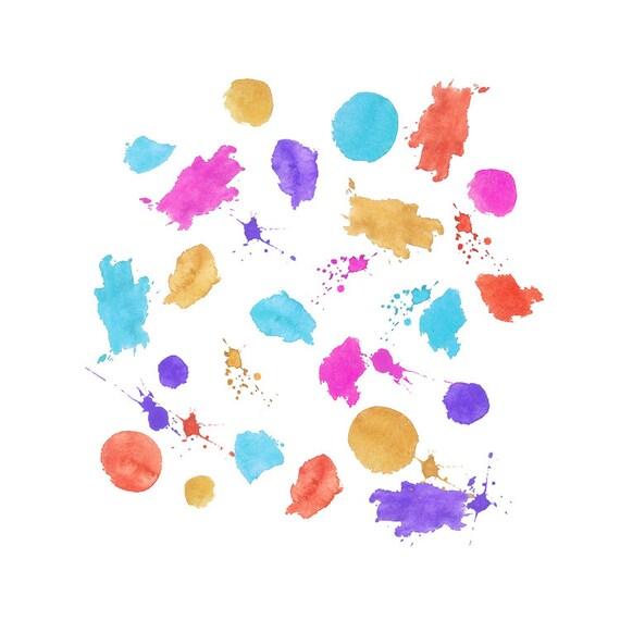 Set 55 salpicaduras acuarela manchas de pintura gr fico - Salpicaduras de pintura ...