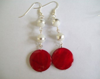 Red and white shell earrings