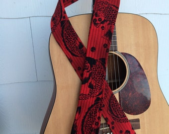 Handmade guitar strap brown black paisley for Koi fish guitar