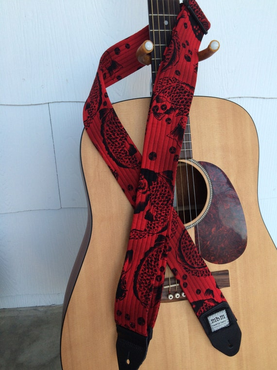 Items similar to handmade guitar strap red black koi for Koi fish guitar