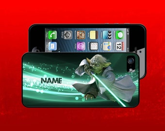 STAR WARS inspired case for iPhone 4 4s 5 5c 5s 5 6 6Plus 7 7Plus  - with your name [Yoda Lightsaber]
