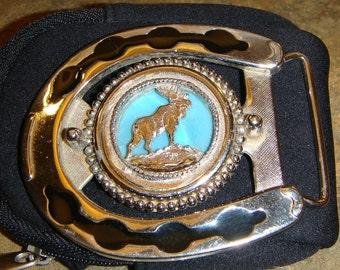 Vintage HORSESHOE MOOSE Belt Buckle
