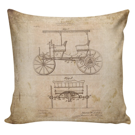 Decorative Cotton Pillow Cover Cushion Old Libbey Automobile