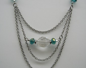 Collar short stainless steel, glass beads and Crystal
