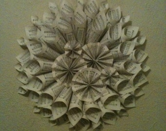 Beautiful book page wreath! Makes great home decor, especially for a library, study, or dining room!