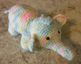 Crochet stuffed baby elephant. Great for a gift!