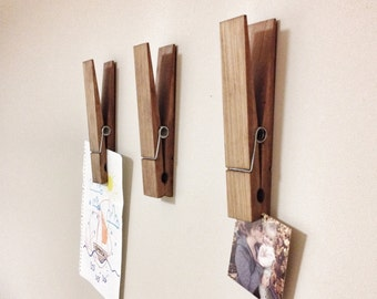 "Large Rustic 9"" Decorative Clothespin in dark walnut finish - office home bathroom nursery laundry wall decor note photo holder"