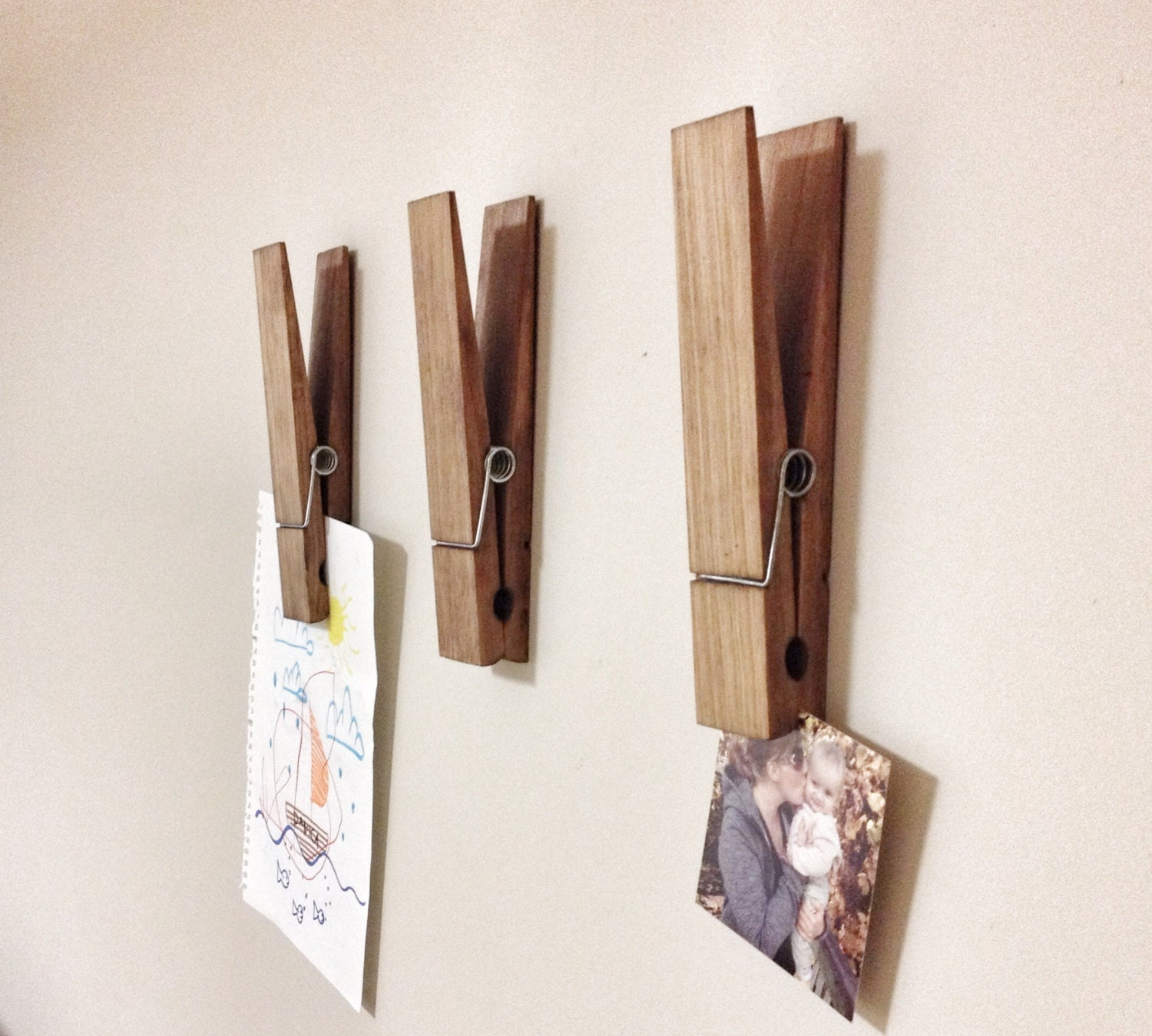 Big Wooden Wall Decor : Large rustic decorative clothespin in dark walnut