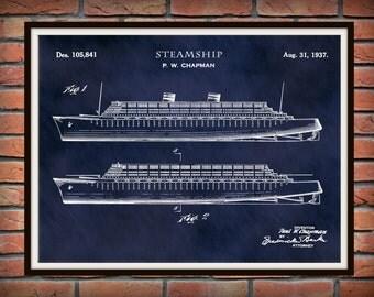 Patent 1937 Steamship Design #1 - Art Print Poster - Boat - Ship - Sailing Vessel - Nautical Wall Art - Titanic - Cruise Ship Wall Art