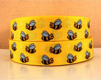1 inch Bumblebee on Yellow Bee Bees Bumble Sports Printed Grosgrain Ribbon for Hair Bow