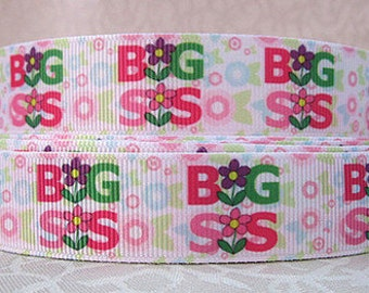 7/8 inch Big Sister BIG SIS on white - Printed Grosgrain Ribbon for Hair Bow
