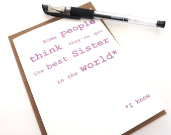 Funny Birthday Card - Best Sister in the World Card, Happy Birthday Sister Card, Free UK Postage, Birthday Card for Women