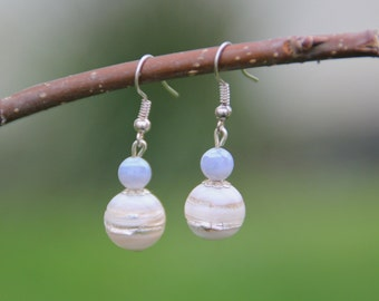 Earrings blue and White Pearl, silver