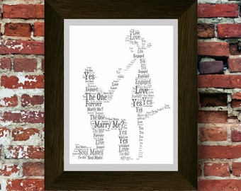 Personalised Engagement Word Art Gift. Will you marry me? Gift Idea. Unique Proposal Congratulations present *A Digital Printable File Only*
