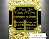 Anniversary Invitations, Printable Golden Anniversary Invitations, Personalized Invitations, Wedding Anniversary Invitations