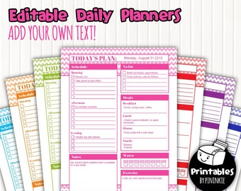 Printable Daily Planner Pages, Editable PDF & JPGs, Chevron Planner, Daily Docket, Daily Schedule, To Do List, Instant Download, 8.5x11
