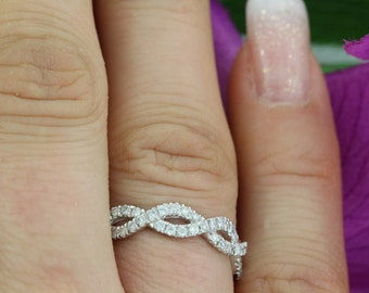 0.46ct  F VS2 Infinity Knot Micro Pave Diamond 14K White Gold Ring Deluxe -The original- Infinity Wedding Ring