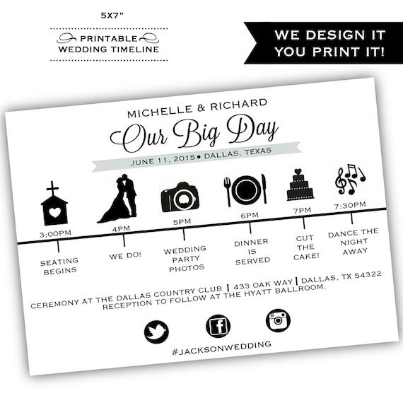 Wedding Day Timeline: Printable Wedding Timeline Printable By ClassyPrintsOnline