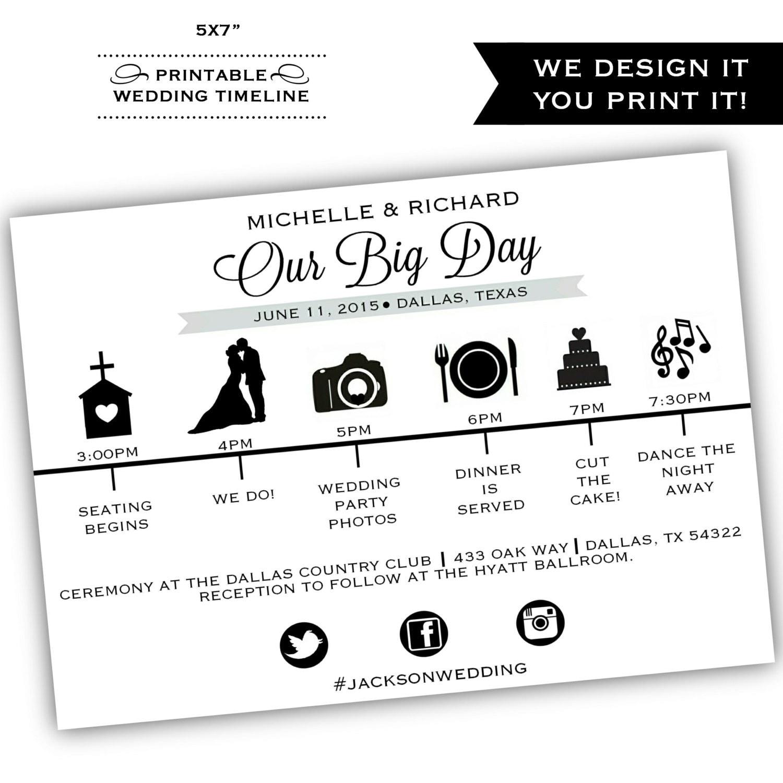 Wedding Invitation Timeline: Printable Wedding Timeline Printable By ClassyPrintsOnline