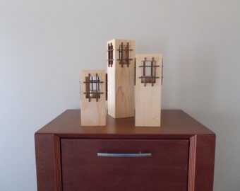 Set of 3, Modern Zen-Like Cuboid Solid Wood Candle Holders