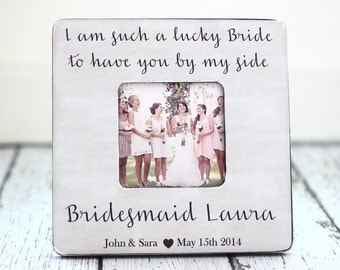 Bridesmaid GIFT Personalized Frame Rustic Country Wedding Thank You Bridesmaid Custom Gift