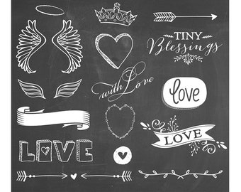 Wings of Love Chalkboard Overlays Set