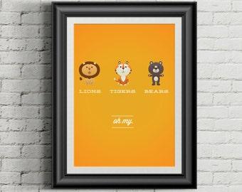 Custom Home Decor- Lions Tigers Bears OH MY! Baby/Nursery Printed Wall Art Horizontal