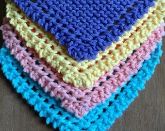 Knit Facecloths set of 4   Washcloths   Dishcloth   Housewarming Gift   Yellow, Peach, Bright Blue, Purple   Baby Shower Gift