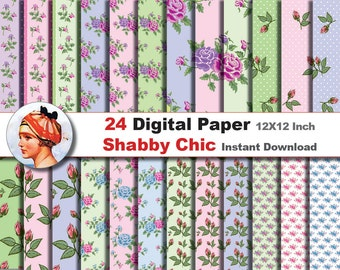 24x Shabby Chic digital paper - Digital paper patterns - Scrapbooking Paper, Instant Download (No. 18)