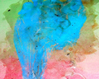 utting my foot on it 3 - Original Art - Mixed Media Abstract Art on A3 Paper - Green - Pink - Blue - Pastels and Wax - Contemporary Grunge