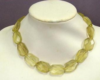 Necklace Lemon Quartz 24mm Flat Facet 925 NSQL5489