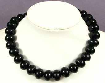 Necklace Black Onyx 18mm Rondells 925 NSJN5151
