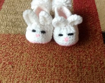 Bunny Baby Booties, Easter Bunny Baby Booties, Bunny Slippers, Easter Slippers