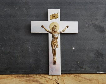 French Vintage Crucifix to place on a wall, beside or mantlepiece. The cross is in aluminium and the Christ in gilt metal.
