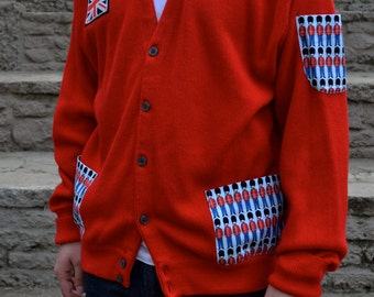 Upcycled Cardigan with Royal Guard Pockets by Dat Jam