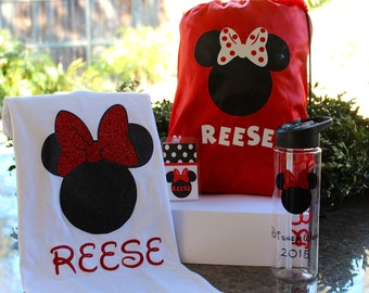 Personalized Disney Bag, T-shirt, personalized water bottle and Luggage Tag Package Cruise/Disney World