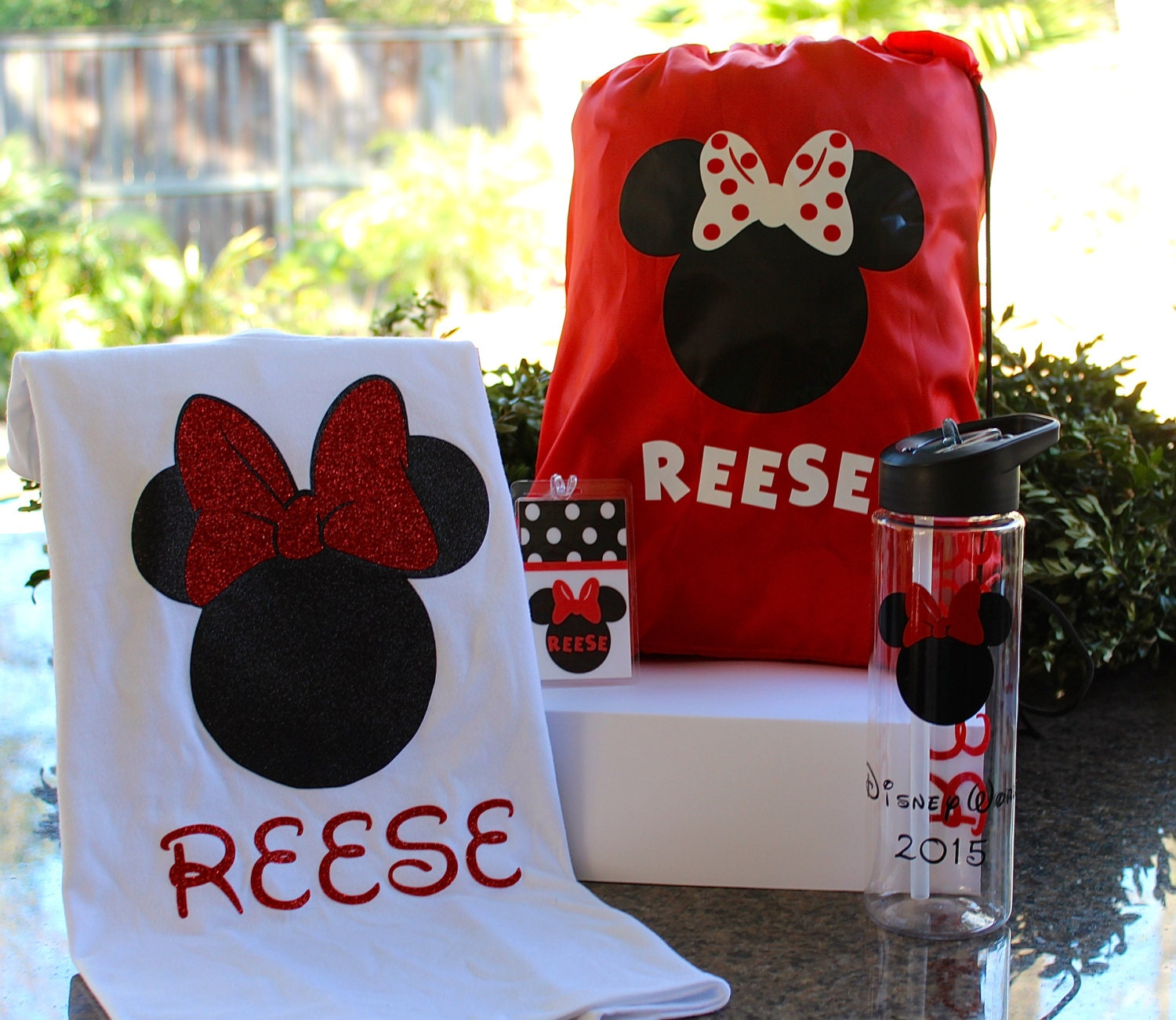 Personalized disney bag t shirt personalized water bottle for Personalized t shirt bags