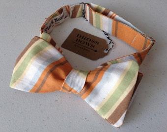 Orange Multi Stripe Batwing Bow Tie