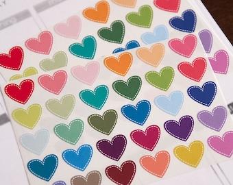 60 heart stickers, planner stickers, scrapbook sticker, reminder sticker, date sticker, night out love sticker, eclp filofax happy planner