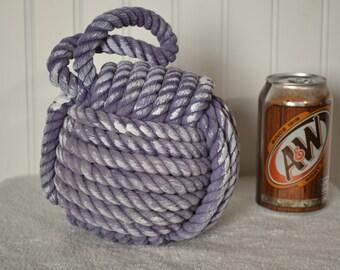 Nautical Decor  Monkey's Fist Knot Door Stop in Purple