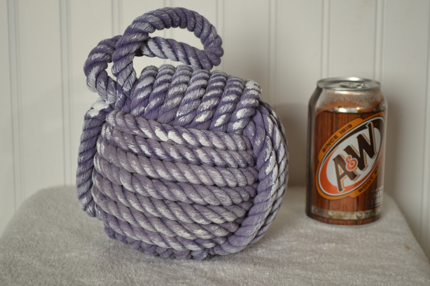 Nautical decor monkey 39 s fist knot door stop in purple - Knot door stopper ...