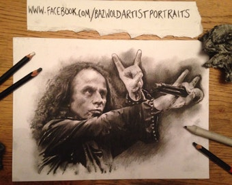 Hand drawn charcoal pencil drawing 'Ronnie James Dio' Size A4