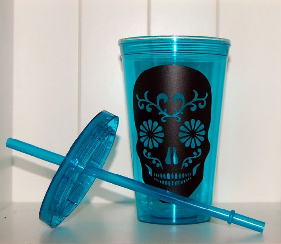 Sugar skull cup blue plastic tumbler novelty cup by WitticismsRus