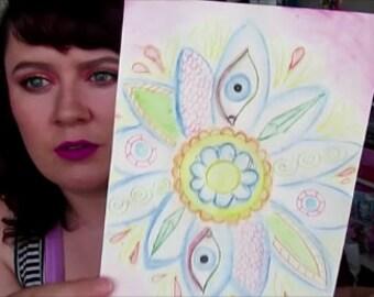 Mandala water colour / pencil JamSaysMeow