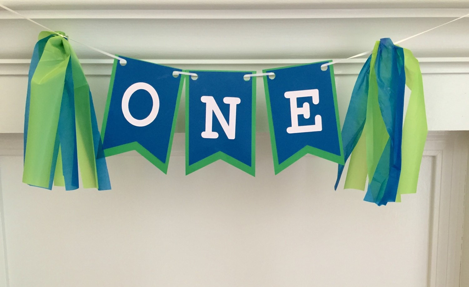 boy s first birthday banner blue and green by rosiepeachboutique