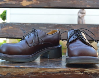UK5, Brown Leather Doc Marten Oxfords with a slight heel, Made in England
