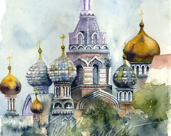 Russian Church Watercolor Painting