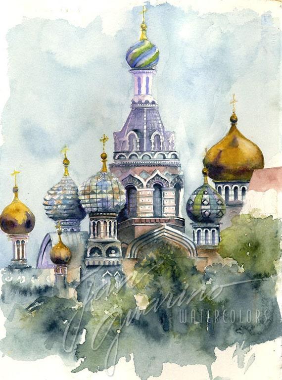 Russian Church Watercolor Painting
